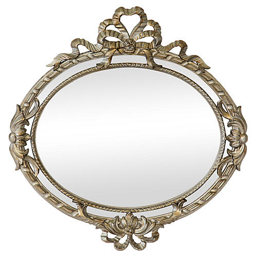 Italian Silvered Oval Mirror