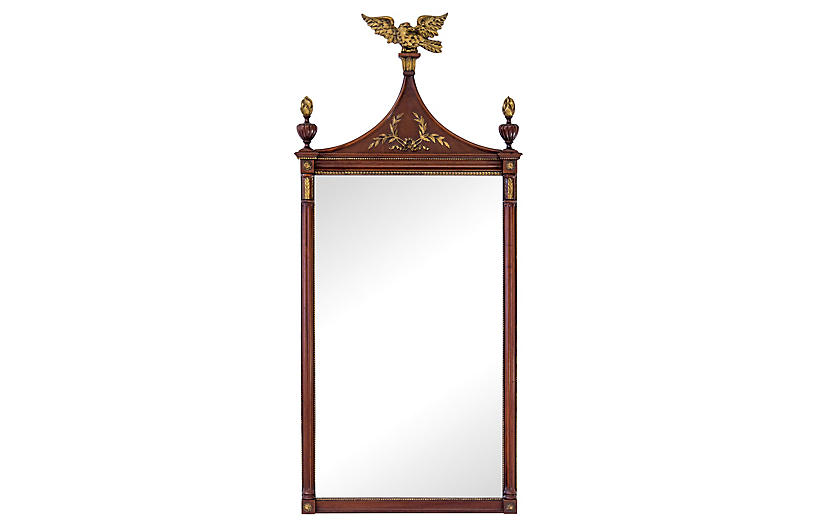 Mahogany & Gilded Mirror w/ Carved Eagle