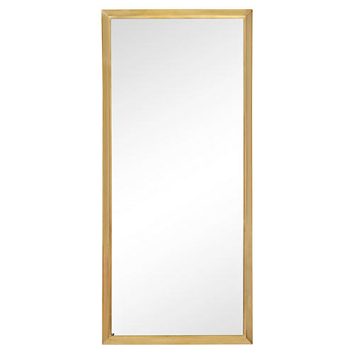 Tall Rectangular Solid Brass Mirror