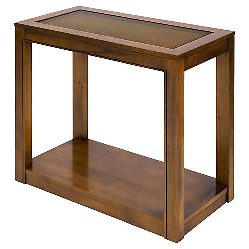 Vintage Caned Top Parsons Console Table