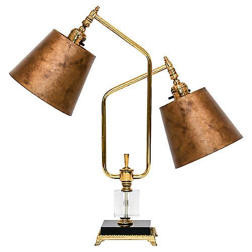 1960s Angular Brass Double Arm Lamp