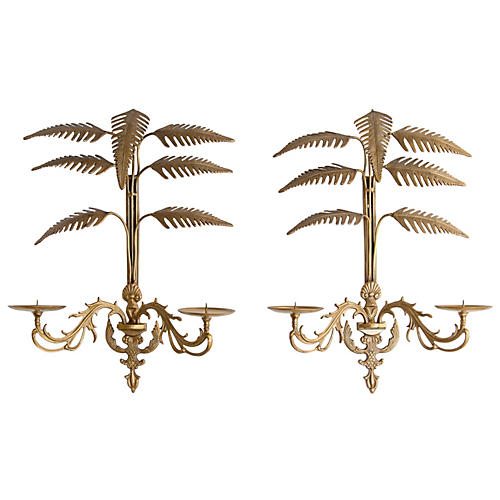 Palm Frond Two-Arm Candle Sconces, Pair