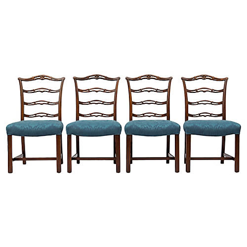 Chippendale Ladder-Back Side Chairs, S/4
