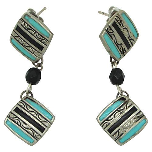 Art Deco-Style Cufflink Earrings