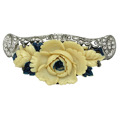 Art Deco Brooch w/ Celluloid Flower