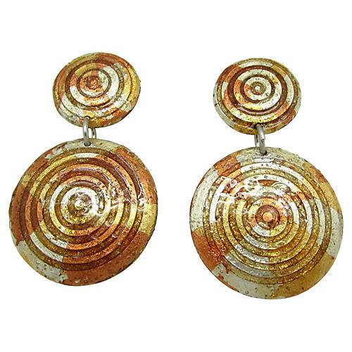 1980s Metallic Earrings
