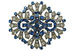 1920s Blue & Clear Rhinestone Brooch