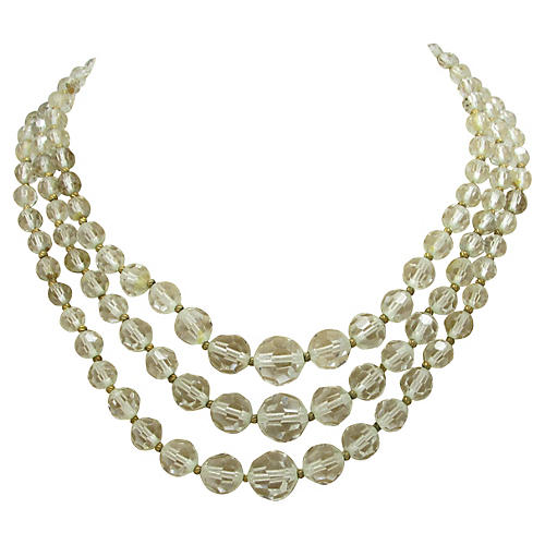 Star Three-Strand Crystal Bead Necklace