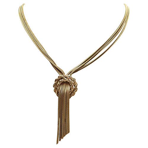 Goldtone Chain Fringe Necklace