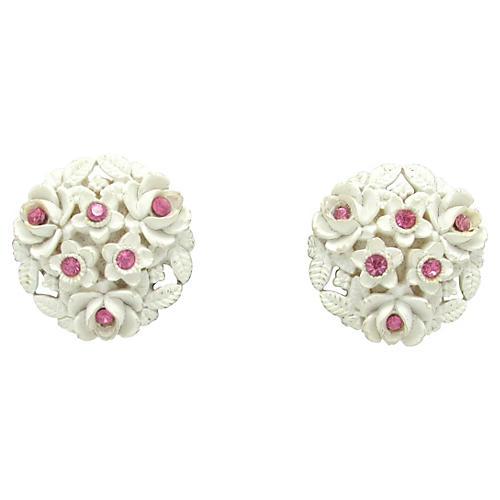White & Pink Flower Earrings