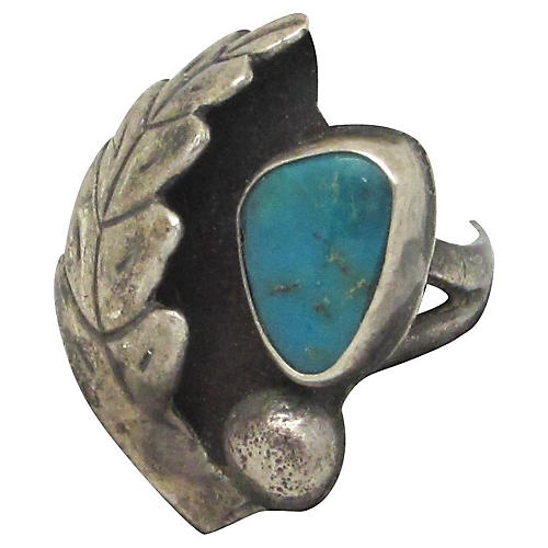 Leaf & Turquoise Native American Ring