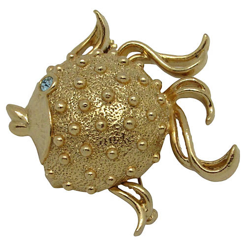 Puffer Fish Perfume Locket Pin