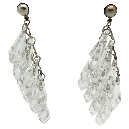 Diamond Shaped Lucite Bead Earrings