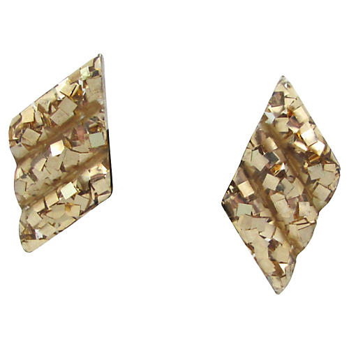 Lucite Gold Confetti Earrings