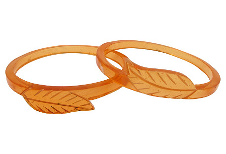 Lucite Carved Leaf Bangles, Pair
