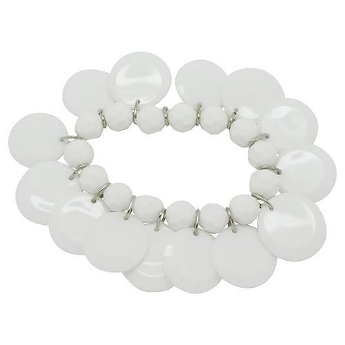 Faceted White Bead Charm Bracelet