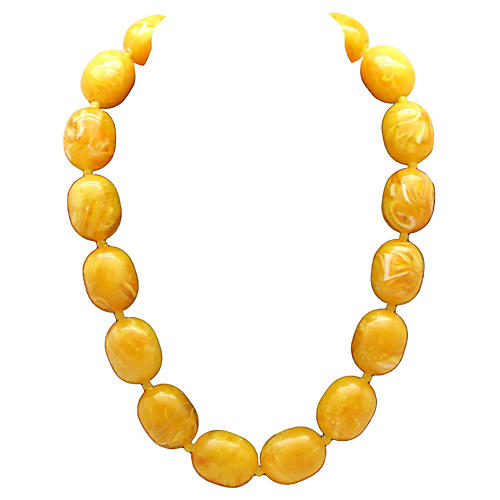 Mottled Yellow Bead Necklace