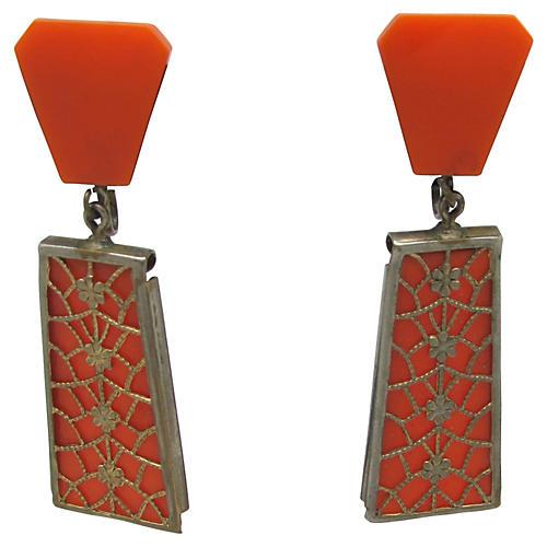 Faux-Coral w/ Latticework Earrings