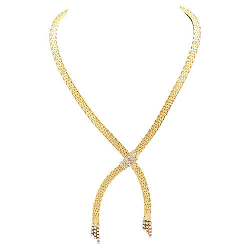 Goldtone Lariat Necklace w/ Rhinestones