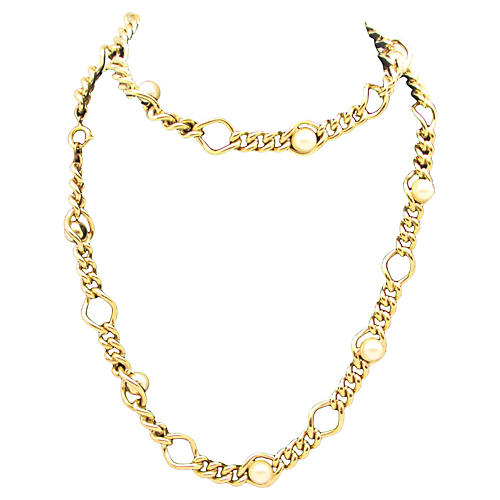 Goldtone Link Necklace w/ Faux-Pearls
