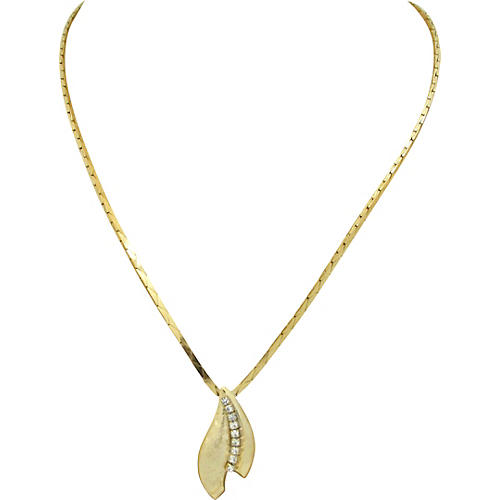 1970s Goldtone Faux-Diamond Necklace