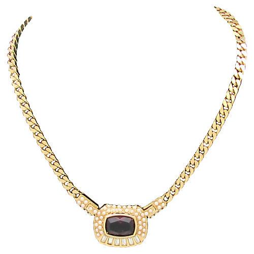 1980s Faux-Pearl & Purple Glass Necklace