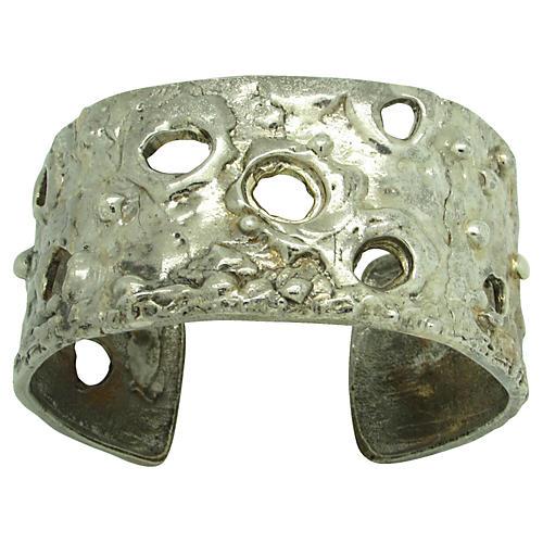 Brutalist Silvertone Metal Cuff