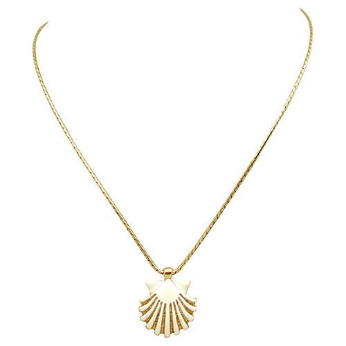 Monet Enameled Seashell Necklace