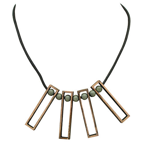 1960s Copper & Leather Necklace