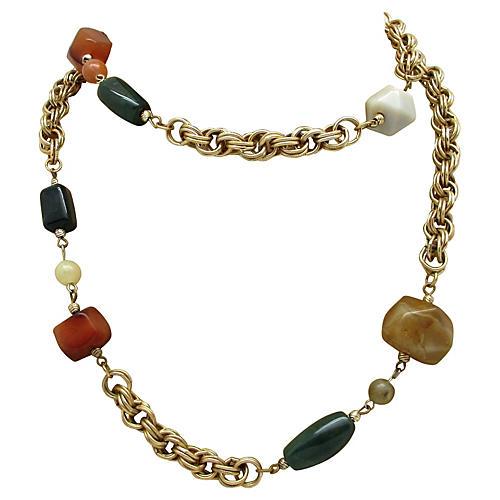 Goldtone Necklace w/ Natural Stones