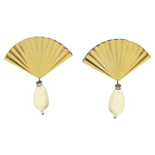 Fan-Shaped Earrings w/ Faux Pearls