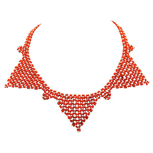 Orange & White Bead Bib Necklace