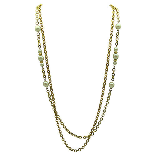 Double-Strand & Faux-Pearl Link Necklace