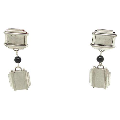 Art Deco Cuff Link Earrings