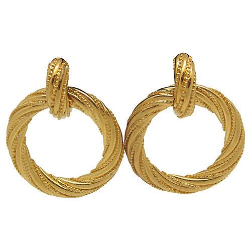 1970s Goldtone Twisted Metal Earrings