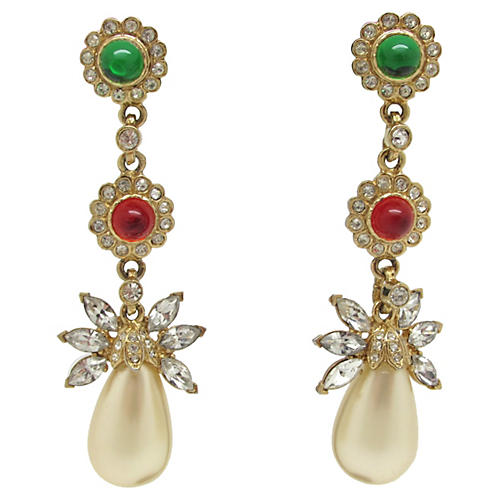 Kenneth Lane Floral Design Earrings