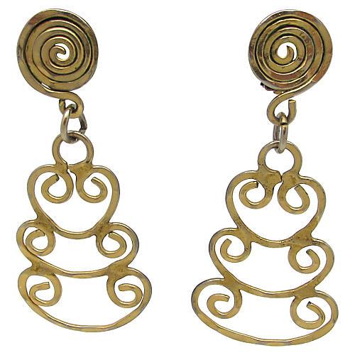 1960s Brass Free-Form Earrings