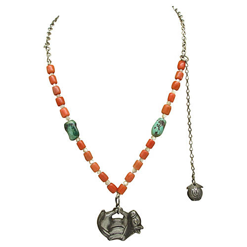 1960s Mexican Bead & Pendant Necklace