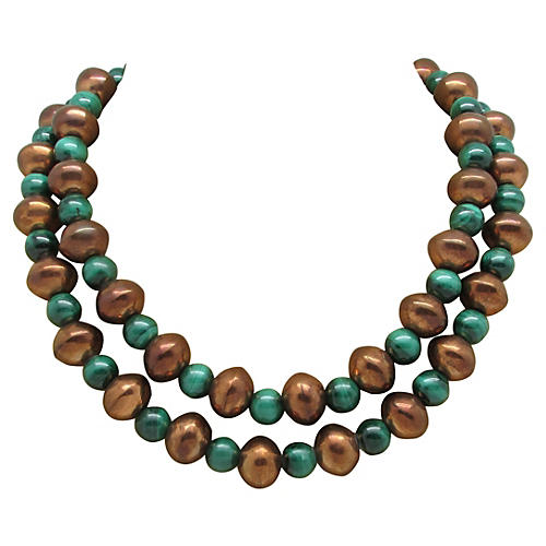 1970s Sterling & Malachite Bead Necklace