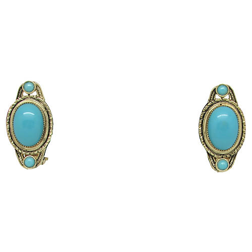 Whiting & Davis Faux-Turquoise Earrings