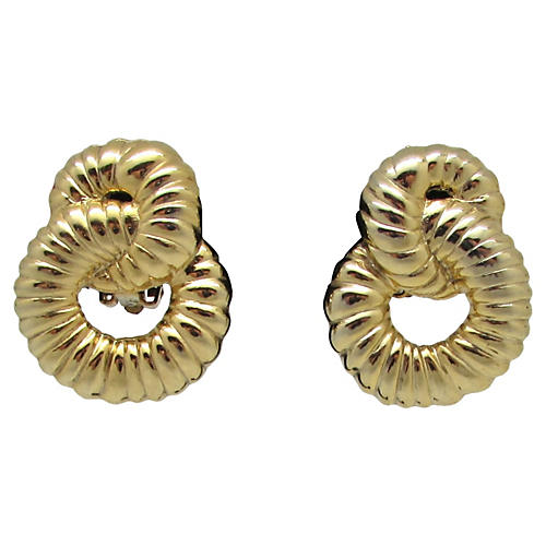 Scalloped Goldtone Metal Earrings