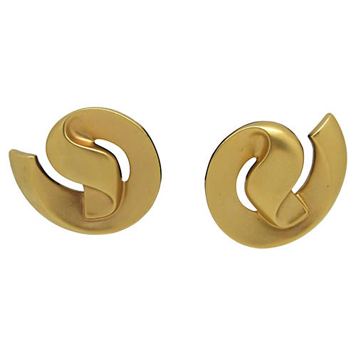 Goldtone Matte Swirl Earrings