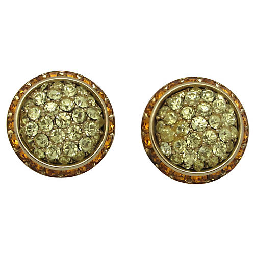 Coro Button-Style Rhinestone Earrings