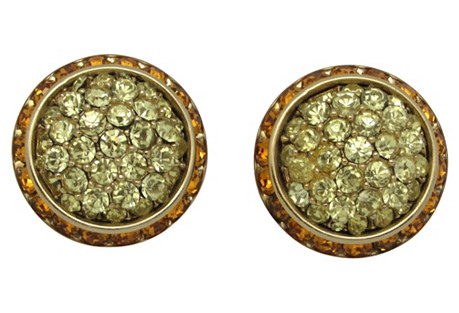 Coro Button-Style Rhinestone Earrings