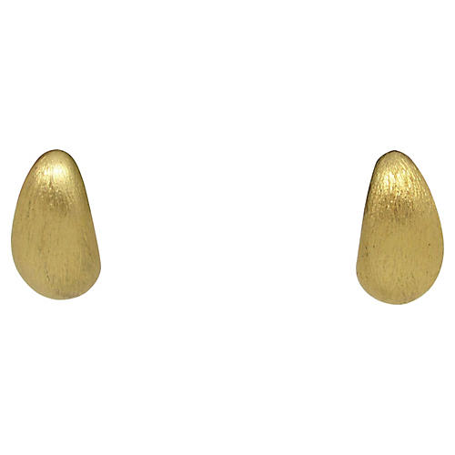 Brushed Goldtone Crescent Earrings