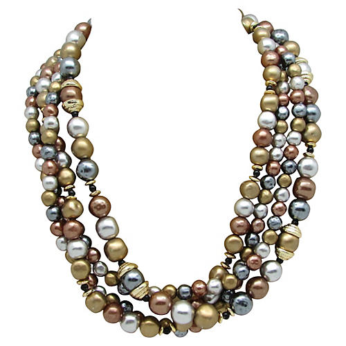 Four-Strand Metallic Beads Necklace