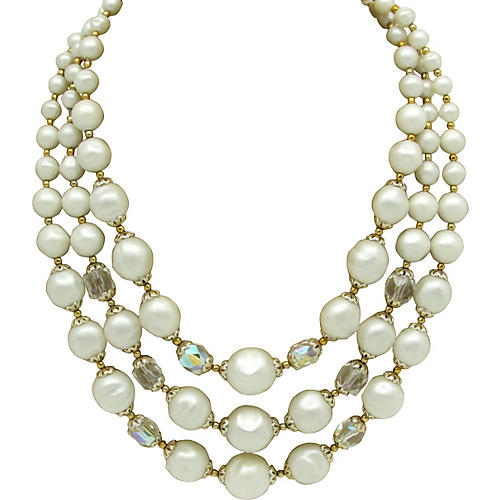 Faux-Baroque Pearl & Glass Bead Necklace