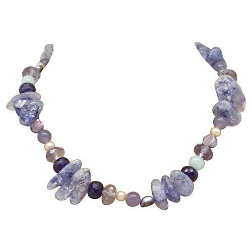 Amethyst Quartz & Pearl Bead Necklace