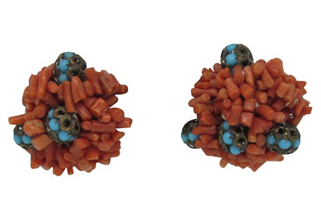 Sandor Coral & Faux-Turquoise Earrings