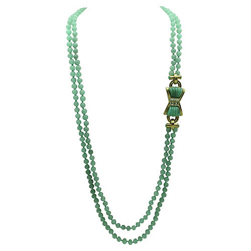 Les Bernard Nephrite Bead Necklace